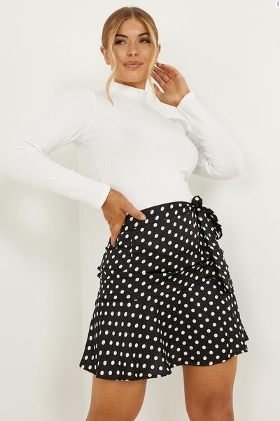 Petite Black Satin Polka Dot Skirt